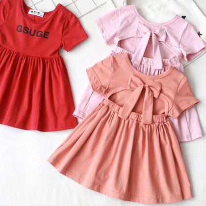 1003391 Kids Toddler Girl Back Ribbon Dress