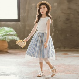 1003664 Kids Girl White Top + Blue Stripe Skirt Set