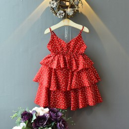 1003703 CNY Kids Girl Pokka Dot Red Dress