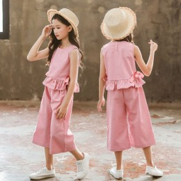 1003502 Kids Girl Top + Wide Leg Pant 2pc Set