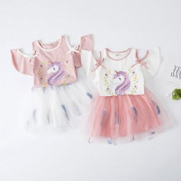 1003750 Kids Toddler Girl Unicorn White Top + Pink Skirt 2pc Set