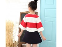 Navy Style Red Stripe Kids Girl Dress