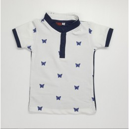 Standing Collar Butterfly Kids Boy Shirt