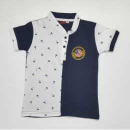 Standing Collar Coconut Tree Kids Boy Shirt