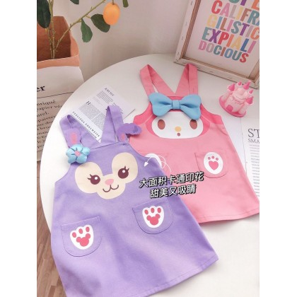 [Pre-order] S069 Kids Girl Cartoon Overall Dress (without inner)