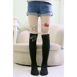 Girl's Velvet Legging - Black Hello Kitty