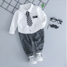 Korean Stylish Tie White Long Sleeve Shirt + Check Pant 2 Pc Set