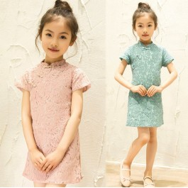 [CNY2019 Pre-Order] Girl Chinese Traditional Costume Kids Cheongsam Lace Dress