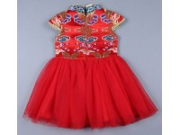 [CNY2019 Pre-Order] Girl Chinese Traditional Costume Kids Silk Cheongsam Tutu Dress