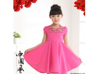 [CNY2019 Pre-Order] Kids Girl Square Collar Embroidery Cheongsam Dress