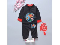 [CNY2019 Pre-Order] Boys Longsleeve Chinese Embroidery with long pant 2 Pc Set