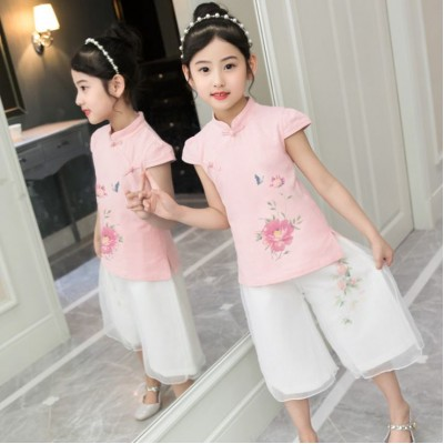 [CNY2019 Pre-Order] Kids Girl Peony Mudan Flower Cheongsam Shirt + Pant 2 Pc Set