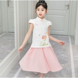 [CNY2019 Pre-Order] Kids Girl Lotus Flower Cheongsam Shirt + Skirt 2 Pc Set