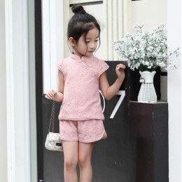 [CNY2019 Pre-Order] Kids Girl Lace Cheongsam Shirt + Short Pant 2 Pc Set