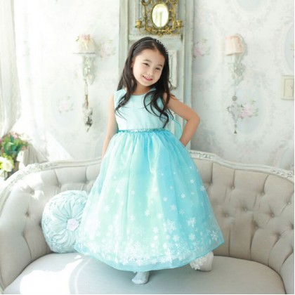 [Pre-order] Frozen Inspired Kids Girl Long Dress with Flying Scarf