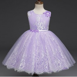 Anne Lace Kids Girl Princess Dress Party Dress Wedding Dress Birthday Dress (Purple)