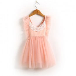 Kids Girl Tutu Flying Sleeve CrossV Tutu Dress