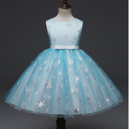 Silver Snow Flakes Kids Girl Dress Party Dress