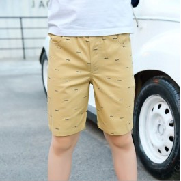 Kids Boy Short Pant Cropped Pant - Fish Bone (Beige)
