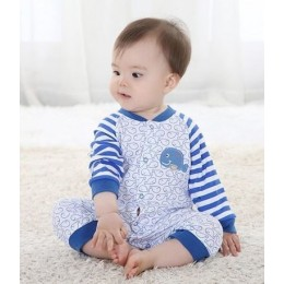 Baby Long Sleeve Romper Pyjamas - Blue Whale
