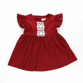 Baby Girl Dress Lace Flying Sleeve (Red)