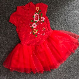 Small Girl Red  Cheong Sam Tutu Dress
