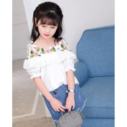 Kids Girl Off-Shoulder Flower Top