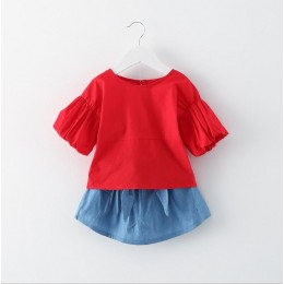 Kids Girl Red Top + Skirt 2pc Set