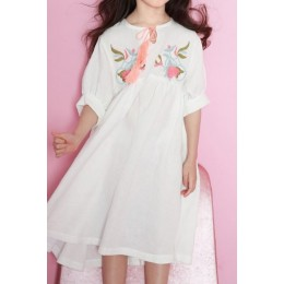 Kids Big Girl's Embroidery Premium Cotton White Dress
