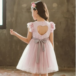Kids Girl Lace Pink Grey Bareback Dress CNY Dress Party Dress