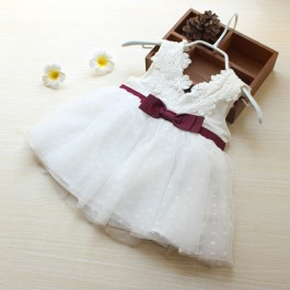 Baby Girl Premium Cotton Lace Ribbon Dress
