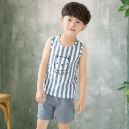 2019 Latest Design! Kids Sleeveless Set - Stripe Bear