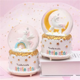 Unicorn Crystal Ball Snowflake Music Box Gift