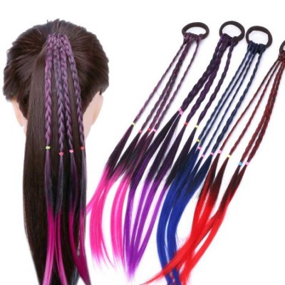 Kids Girl Colourful Fake Long Braid hairtie