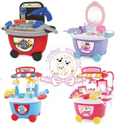 Simulation Toys Kids Playset Role Play Trolley Set