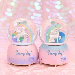 Rainbow Unicorn Crystal Ball Snowflake Music Box Gift
