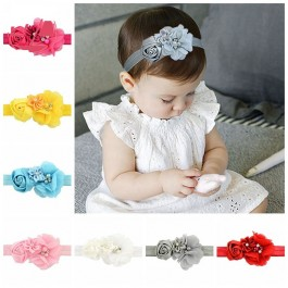 Infant Baby Girl Elegant Flower Pearl Bling Elastic Hairband Premium Quality