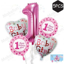 Big Balloon Baby First Birthday Balloon 5pc Set (32-40 inch)