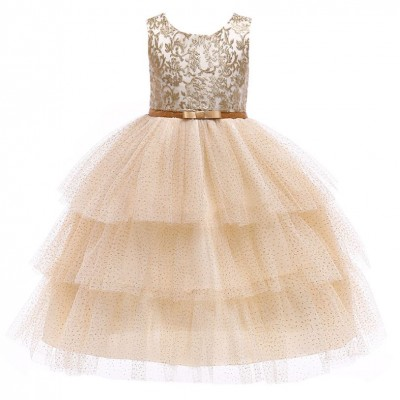 Gold Kids Girl Party Dress Birthday Dress Flower Girl Dress