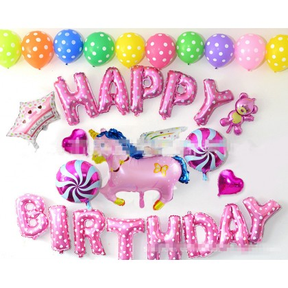 29pcs/set Flying Unicorn Theme Happy Birthday Party Decoration Balloon Package