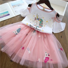Kids Girl Unicorn Off-Shoulder Tutu Dress Set