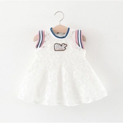 Pink Baby Toddler White Lace Dress