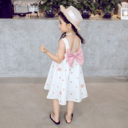 Kids Girl Ribbon Pink Pokka Dot Dress