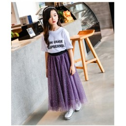 Kids Girl Purple Bling Bling Starry Mesh Skirt