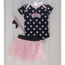 Black Pink Pokka Dot Baby Romper + Skirt + Headband Set