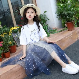 [Pre-order] Kids Girl Top + Mesh Ombre Skirt 2pc Set (White Top + Blue Skirt)