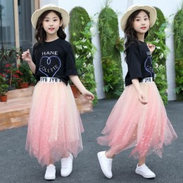 [Pre-order] Kids Girl Top + Mesh Ombre Skirt 2pc Set (Black Top + Pink Skirt)