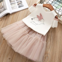 Kids Girl Rabbit Off-Shoulder Tutu Dress Set