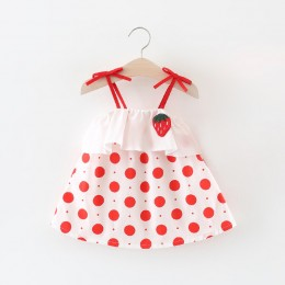 Strawberry Pokka Dot Off-Shoulder Baby Toddler Dress