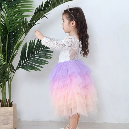 Kids Girl Long Sleeve Bareback Rainbow Dress